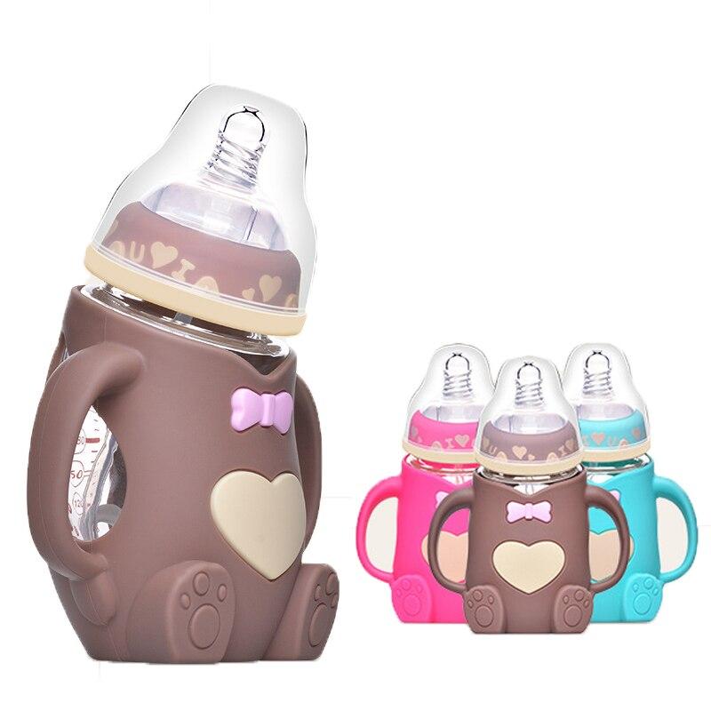 240ml Baby Silicone Glass Cartoon Bear Bottle Baby Anti-fall And Flatulence 2-in-1 Children Glass Milk Bottle