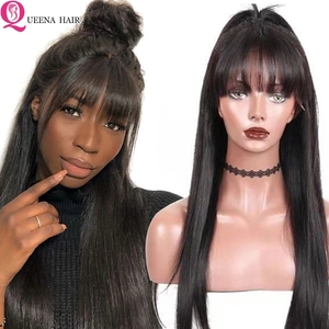 Image 1 - Straight Human Hair Wigs With Bangs Full Machine braide Wigs For Black Women Cheap Lace Front Wigs With Bang Brazilian Hair Wigs