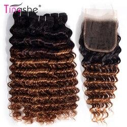 Tinashe 1B 30 wiązki z zamknięcia Remy włosy brazylijski ludzki włos kolorowe Ombre wiązki z zamknięciem głęboka fala wiązki z zamknięciem