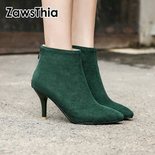 ZawsThia 2020 autumn winter faux suede green brown black thin high heels woman sexy pointed toe pumps women ankle boots booties