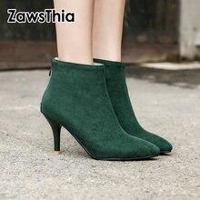 Zawsthia 2020 Thu Đông Giả Da Lộn Nâu Xanh Đen Mỏng Giày Cao Gót Người Phụ Nữ Gợi Cảm Mũi Nhọn Bơm Nữ Mắt Cá Chân Giày boot