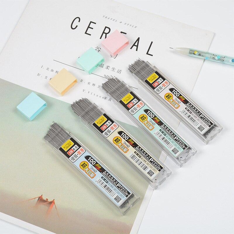 100 шт./кор. графитовый свинцовый 2B механический карандаш заправка пластиковый автоматический сменный Карандаш 0,5, 0,7 акция