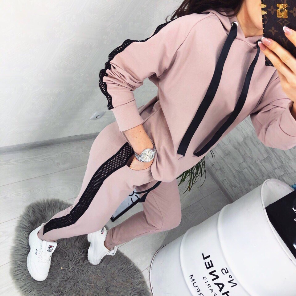 Womens 2pcs Sport Sets Lady Autumn Tracksuit Long Sleeve Hoodie Tops Sweatpants Warm Outfits Running Suit Sportswear