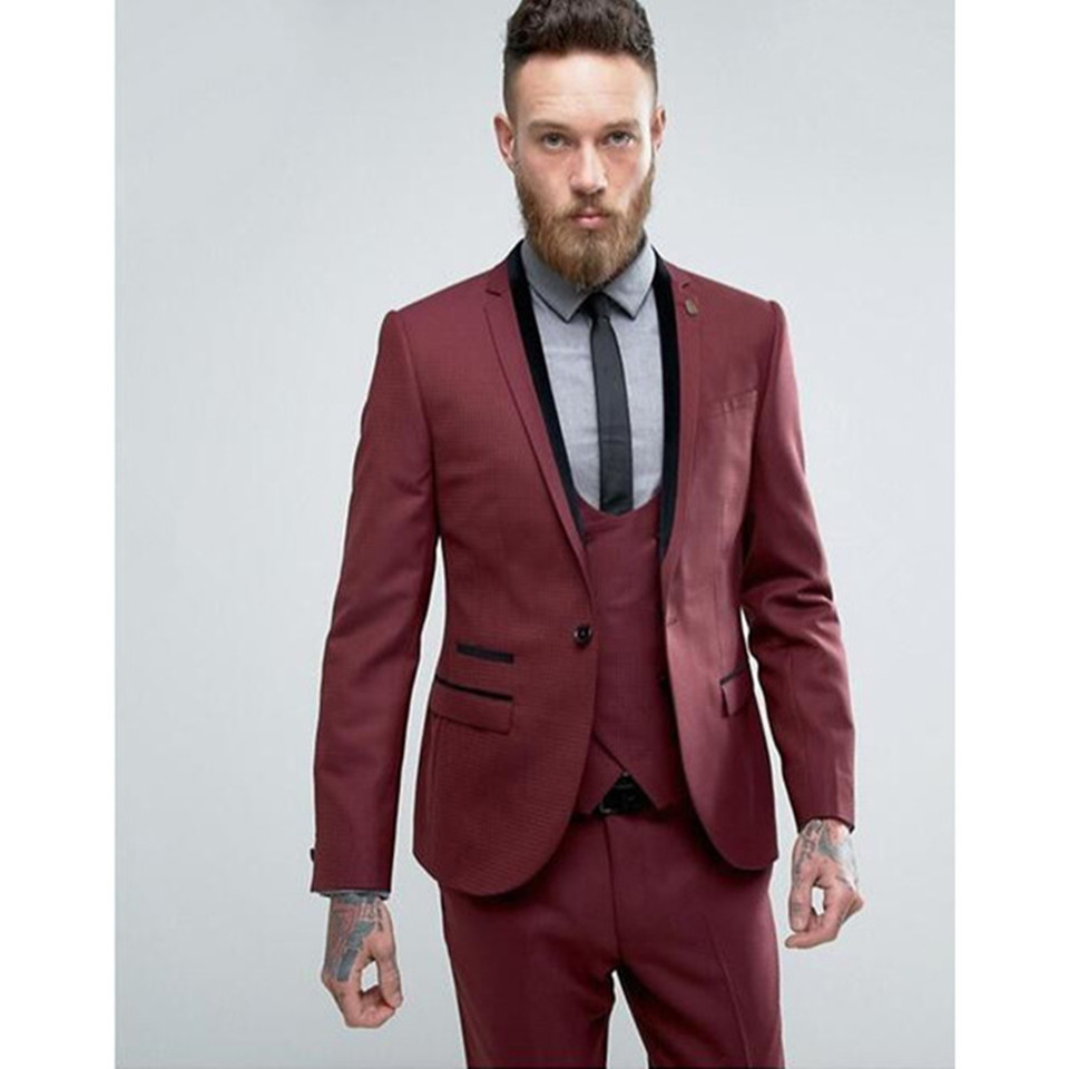 New Men's Suit Smolking Noivo Terno Slim Fit Easculino Evening Suits For Men Burgundy Single Breasted Casual Groom's Wedding