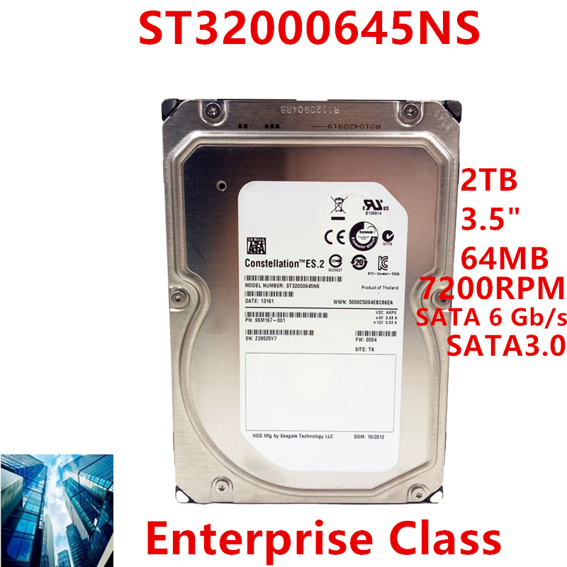 """New HDD For Seagate Brand 2TB 3.5"""" SATA 6 Gb/s 64MB 7200RPM For Internal Hard Disk For Enterprise Class HDD For ST32000645NS 1"""