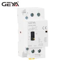 Free Shipping GEYA GYHC 2P 40A 63A 2NO or 2NC Manual Household Modular DIN Rail AC Contactor  AC220V 230V Control