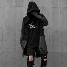 Hip hop Mens leather hoodies with hood Black Loose Hard rock Hooded sweatshirts Swallow tail