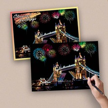 4pcs/set Classical Buildings Fireworks Cherry Blossoms Colorful Magic Scratch Painting Drawing Paper Crafts for Adults 20*14cm
