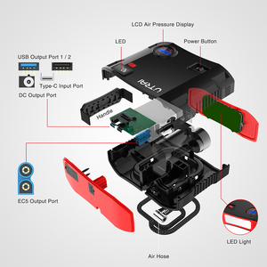 UTRAI Auto Starthilfe 4 In 1 24000mAh Power Bank Luft Kompressor 12V Digitale Reifen Inflator Pumpe 150 PSI Notfall Batterie Boost