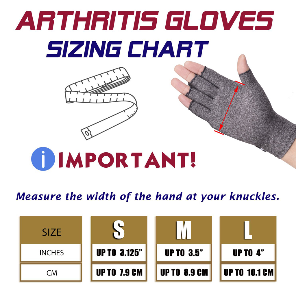 WorthWhile 1 Pair Compression Arthritis Gloves Wrist Support Cotton Joint Pain Relief Hand Brace Women Men Therapy Wristband 6