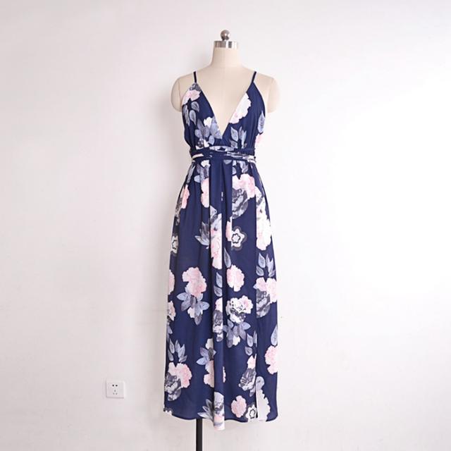 Sexy Beach Sundress Print Summer High Women Dress 4