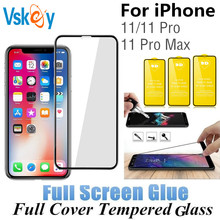 10 pçs tela cheia cola vidro temperado para iphone 11 protetor de tela para iphone 11 pro max 5.8in 6.1 film film 6.5 polegadas película protetora