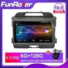 FUNROVER android 10,0 2 din coche radio dvd para kia sportage 3 2010-2016 gps navegador estéreo reproductor multimedia DSP 2.5D + IPS 128G