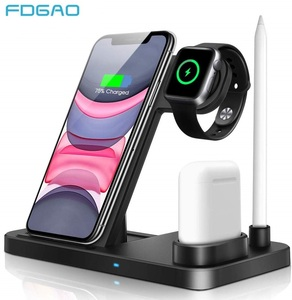 Image 1 - 4 ב 1 צ י אלחוטי מטען Stand עבור iphone 11 פרו XS MAX XR X מהיר טעינת Dock תחנה עבור אפל שעון 5 4 3 2 1 Airpods פרו
