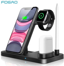 4 In 1 Qi Wireless ChargerสำหรับIphone 11 Pro XS MAX XR X Fast Charging Dock Stationสำหรับapple 5 4 3 2 1 Airpods Pro