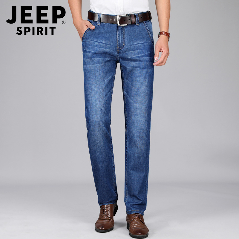 Jeep Summer Thin Section Jeans Men's Elasticity Straight-Cut Pants Large Size Men Business Loose Viscose Men's Trousers Hot Sell