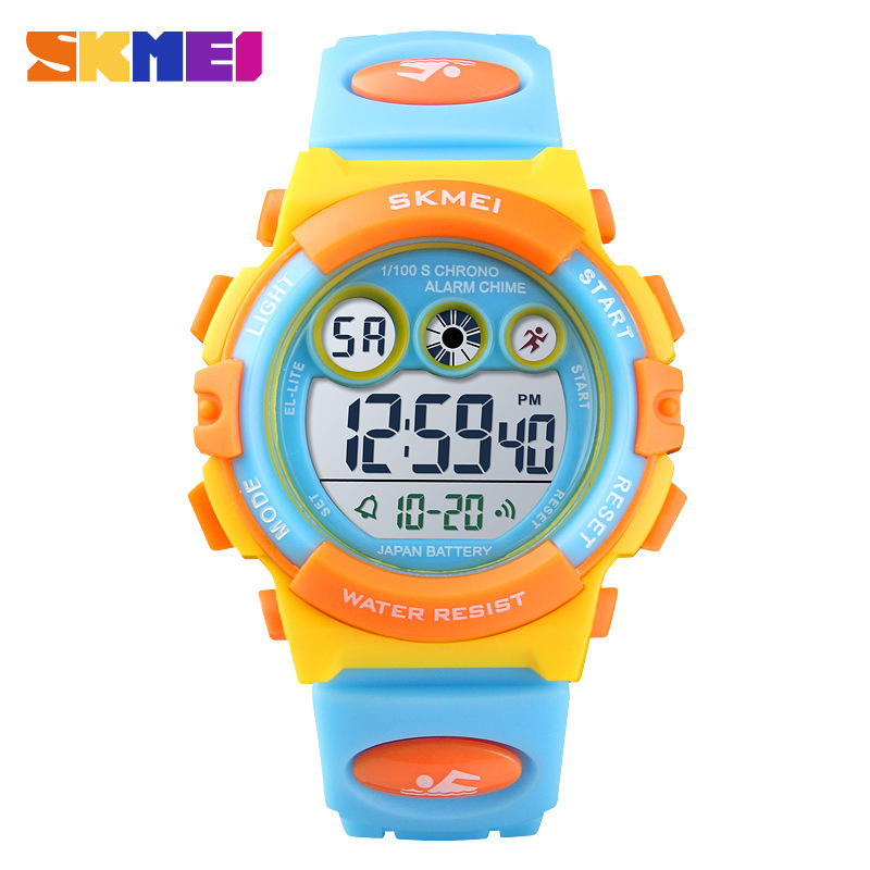 <font><b>Skmei</b></font> <font><b>1451</b></font> Sports Multi-functional Color LED Children Waterproof Silica Gel Electronic Watch image