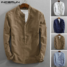 INCERUN Vintage Men Casual Shirt Long Sleeve Cotton Linen Stand Collar Solid Business Streetwear Henley Shirts Men Harajuku 2021