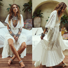 Summer White Beach Dress Women Half Sleeve Sexy Deep V Neck Hollow Out Long Dresses Casual Loose Holiday Bandage Dress