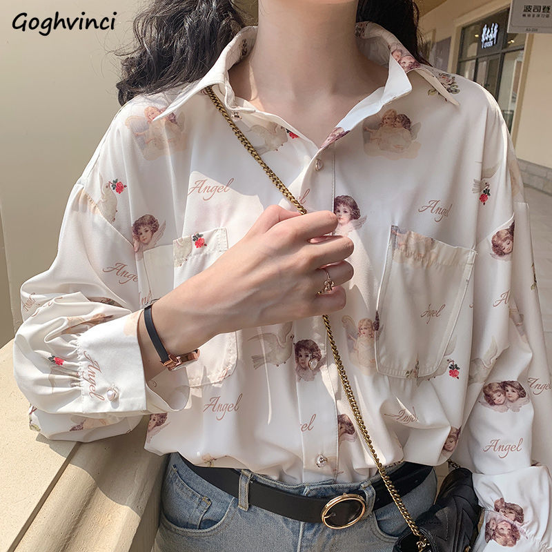 Shirts Women Printed Chic Button Turn-down Collar Retro Harajuku Students Daily Hot Sale Casual Blouses Streetwear Spring Womens
