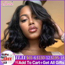 Short Bob Wigs For Women Body Wave Lace Frontal Wig Black Roots Remy Brazilian Lace Front Human Hair Wigs Natural Wavy 150%