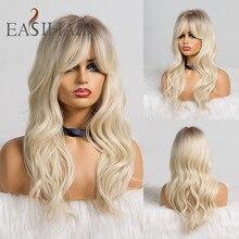 EASIHAIR pelucas de cabello largo degradado para mujer cabello sintético ondulado con flequillo, color marrón a rubio, resistente al calor