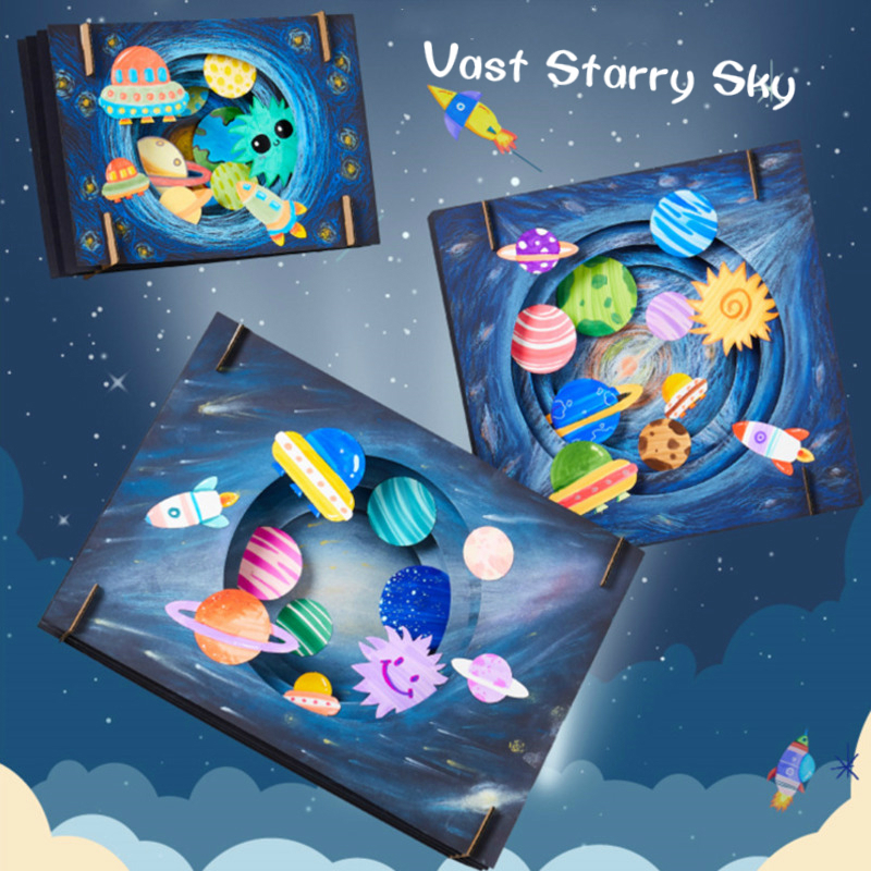 DIY Vast Starry Sky Craft Toys For Children Lovely Dinosaur Children Handmade DIY Crafts For Kids Interactive Educational Toys