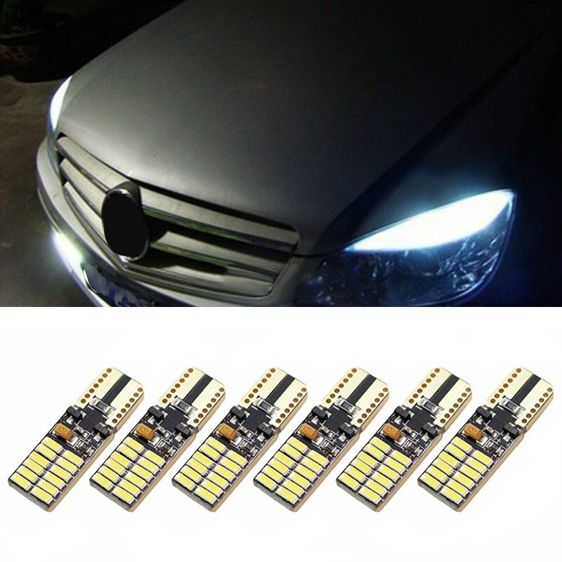 6pcs Car LED Lights Bulb T10 6000K White Lighting Error Free Canbus For Mercedes W204 5W DC12-24V Accessories Car Light Bulbs