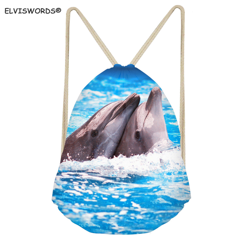 ELVISWORDS Women Blue Sea Long Backpacks Cute Dolphin Shark Pattern Youth Girl Casual Drawstring Bag Travel Beach Sack Bag Women