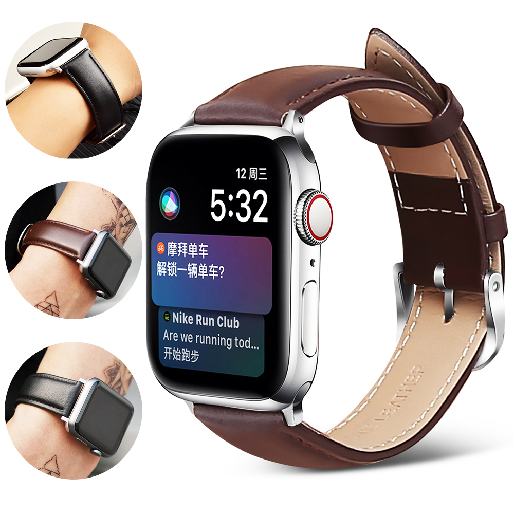 Leather Watch Strap Apple Series 38mm 42mm Apple Table 5 40mm 44mm Iwatch 4/3/2/1 Correa Replacement Band