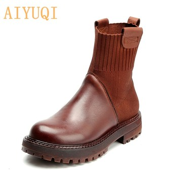 Genuinne Leather boots women 2020 spring new retro casual boots women's Martin boots British style socks women's boots autumn and winter high socks martin wear british wind trend wild casual outdoor desert boots