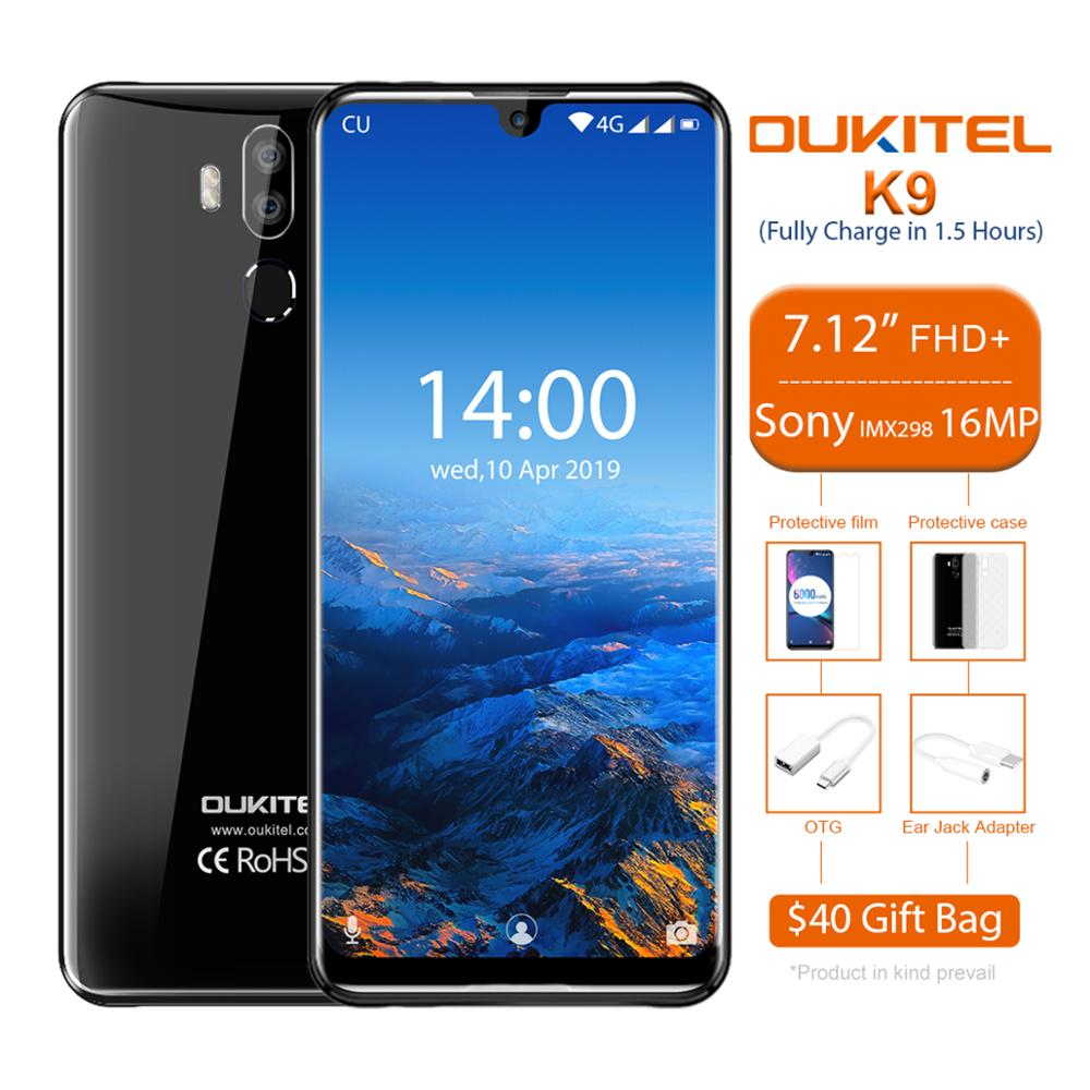 OUKITEL K9 Smartphone 7.12 Inch Android 9.0 Octa Core 2.3GHz 4GB RAM 64GB ROM 6000mAh 5V/6A Quick Charge 4G LTE Mobile Phone
