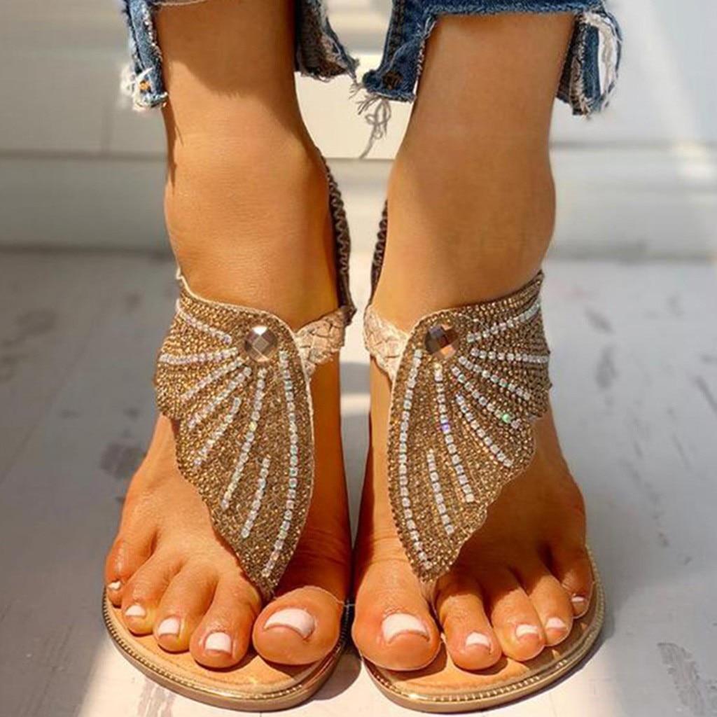 NAUSK Women's Flip-Flop Sandals Bohemian Beach Crystal Summer Shoes For Ladies Casual Open Toe Flip Flops Sandals Mujer
