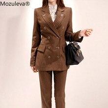 Mozuleva Fashion Double-breasted Striped Women Pant Suit Slim Women Blazer
