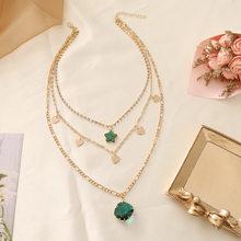 Conjunto de corrente em camadas para as mulheres coração pingente colar estrela gargantilhas colar strass ouro cor corrente nova moda jóias presentes