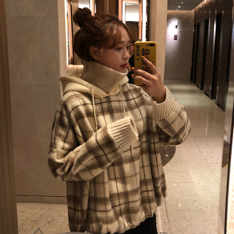 HAYBLST Brand Women Hoodies 2019 Autumn Winter Kpop Fashion Plaid Patchwork High Collar Kawaii Tops Loose Plus Size 2XL Clothing