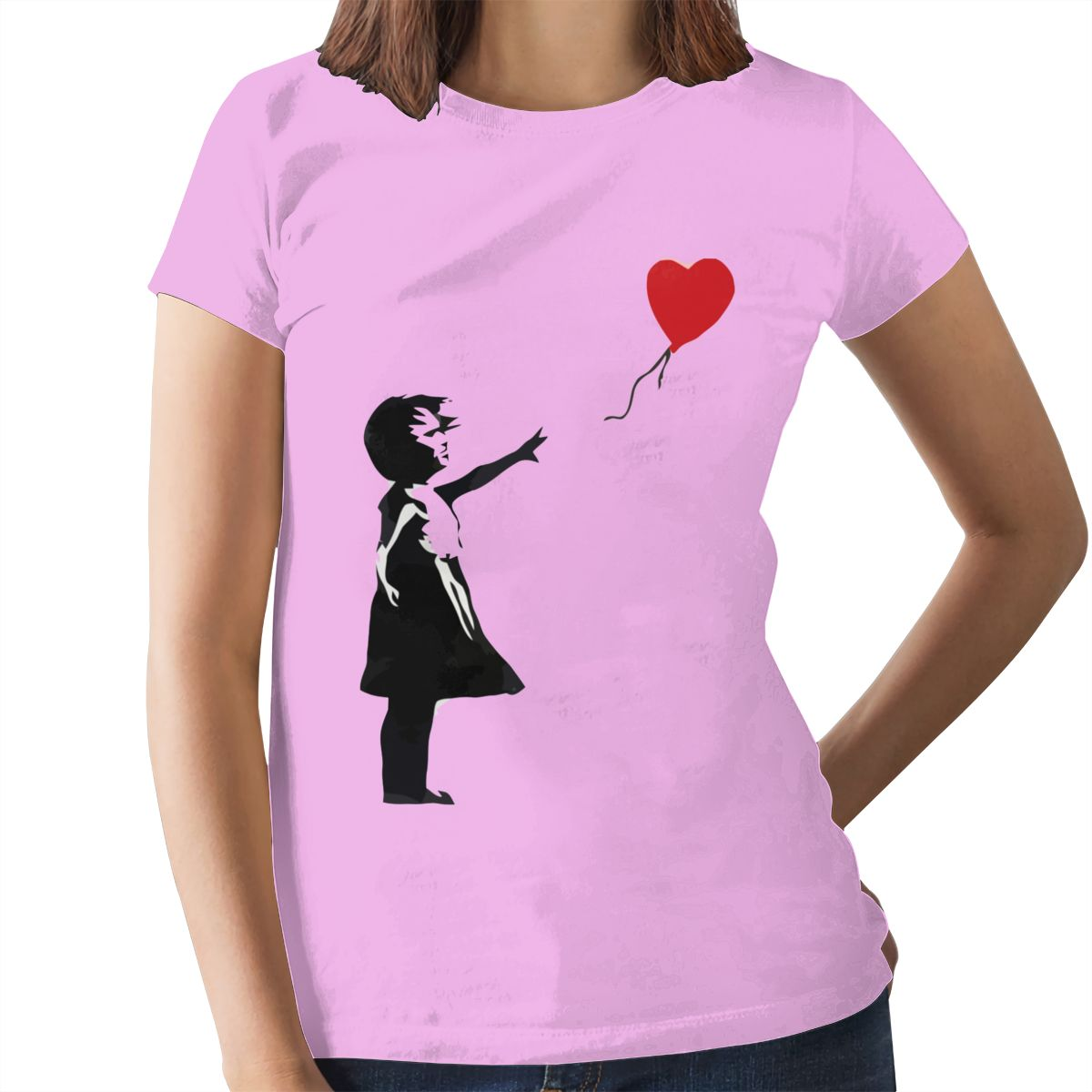 Heart Love T-Shirt Banksy Girl With Balloon T Shirt Trendy Purple Women tshirt Cotton Graphic Ladies Tee Shirt 9