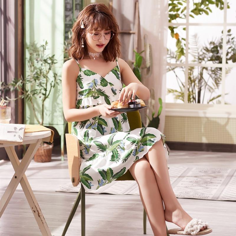 Women's Sleepwear Female Summer Cotton Strap Nightdress Korean-style Fresh Short Sleeved-Outerwear Cotton Spring And Autumn Trac