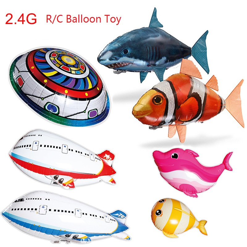 Remote Control Flying Shark Toy Clown Nemo Fish Balloons Inflatable Helium RC Air Plane UFO Flash LED Airplane Dolphin Animal