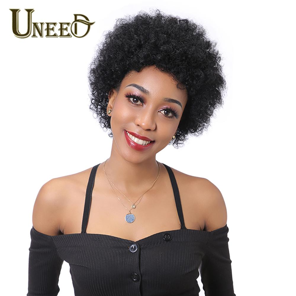 Uneed Short Human Hair Wigs For Black Women Brazilian Kinky Curly Wigs Natural Color Non-Remy Short Wig Machine Made Free Ship