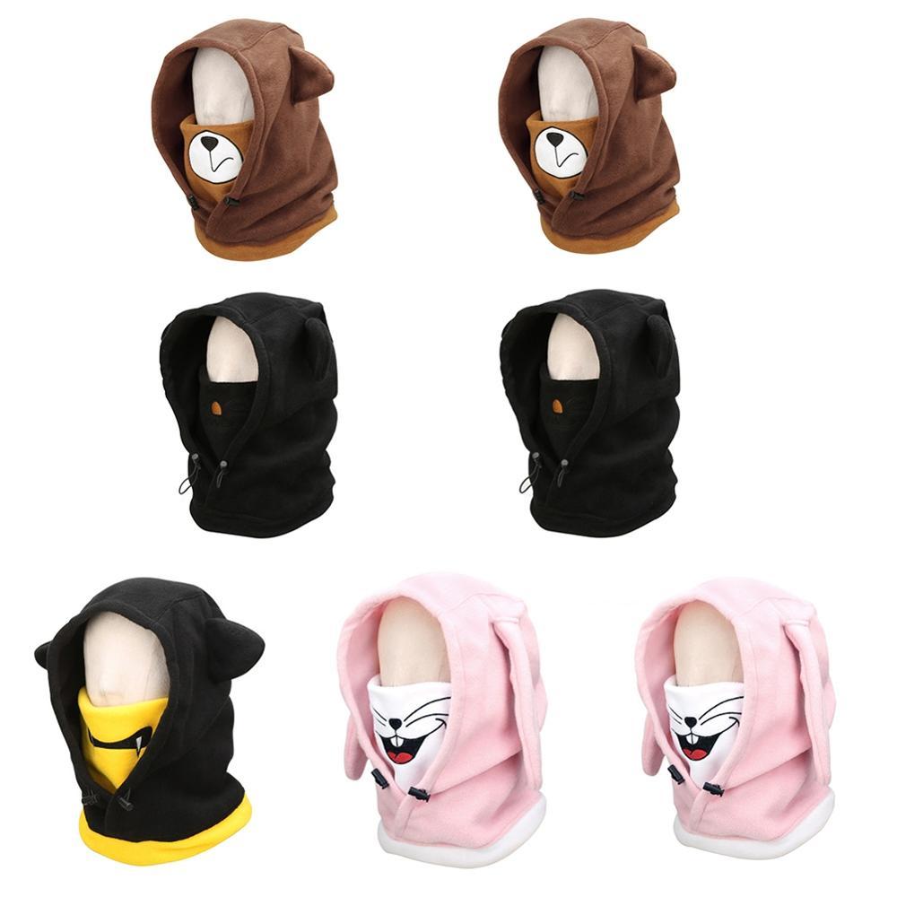 Adorable Skiing Headgear Cartoon Animal Pattern Full Face Thermal Outdoor Protective Balaclava Hood Ski Cycling Mask Helmet