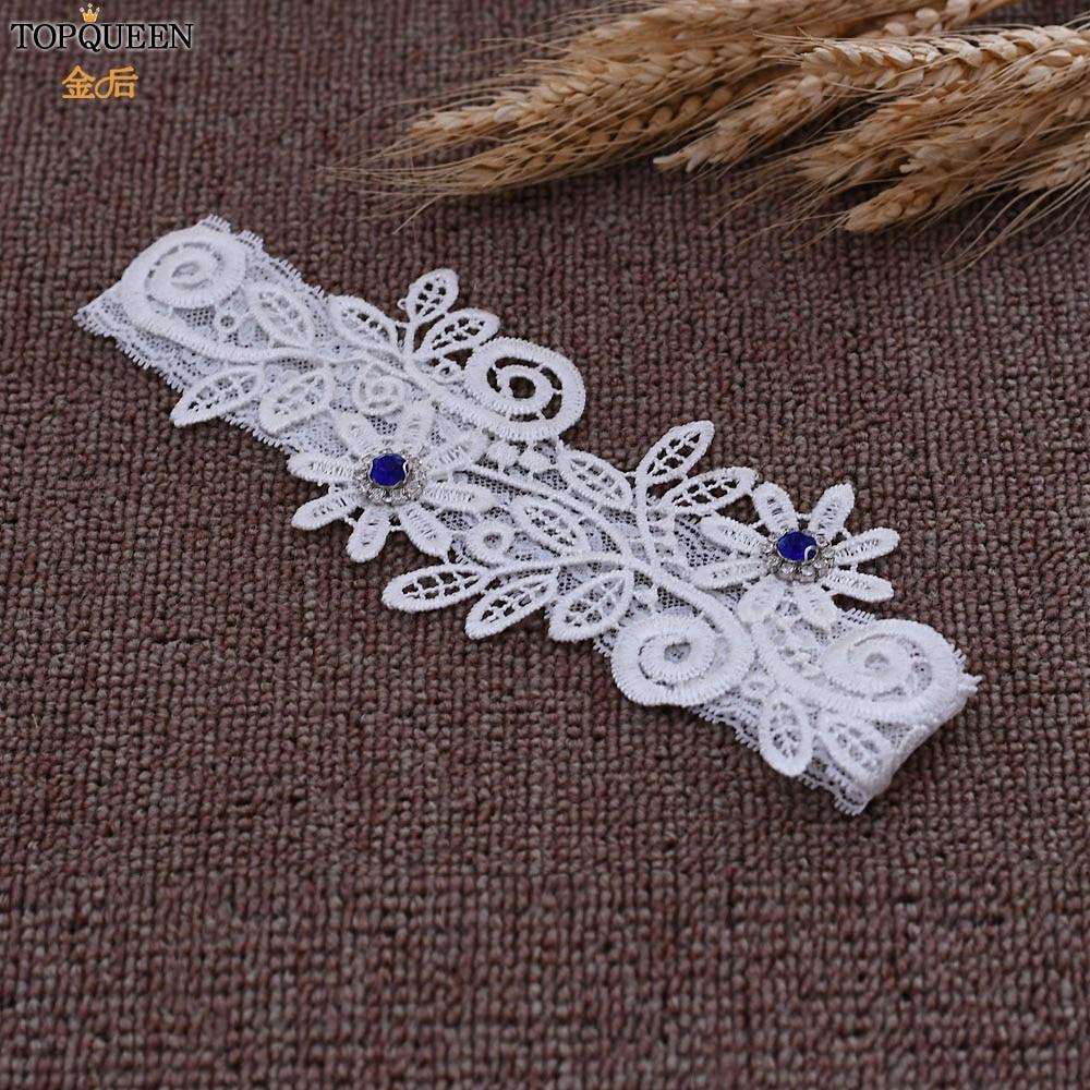 TOPQUEEN Fahion Soft Sexy Women Girl Lace Wedding Garter Cosplay Blue Rhinestone  Garter Ring For Women/Female/Bride TH29