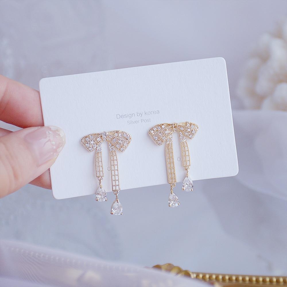 Hot Sale Korean Micro Zircon Temperament Bowknot Earring for Women Dainty 14k Real Gold Elegant Stud Earring Accessories Jewelry