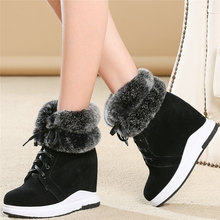 Warm Fashion Sneakers Women Lace Up Cow Suede Leather Wedges High Heel Ankle Boots Female High Top Winter Platform Pumps Shoes krazing pot recommend autumn cow leather wedges thick bottom high heels straw sole pumps lace up mixed color oxford shoes l92