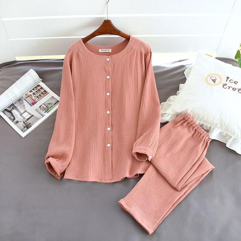 Image 4 - 2020 New Autumn Cotton Crepe Long Sleeved Trousers Pajamas for Women Sleepwear Pyjamas Women Plus Size Breathable Home ClothesPajama Sets   -