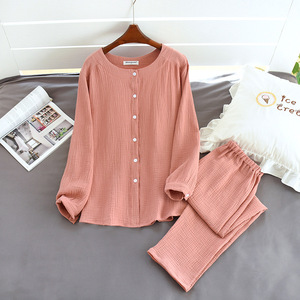 Image 4 - 2020 New Autumn Cotton Crepe Long Sleeved Trousers Pajamas for Women Sleepwear Pyjamas Women Plus Size Breathable Home Clothes