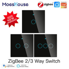 ZigBee Wand Touch Smart Licht Schalter Mit Neutral/Keine Neutralen, keine Kondensator Smart Leben/Tuya 2/3 Weg Control kompatibel AlexaGoogle