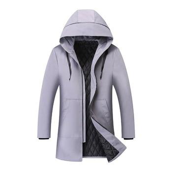 2019 Winter Jacket men hooded Slim Korean Parka Hombre long Jacket coat cashmere mens windbreaker Parkas cotton youth clothing недорого