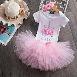 Unicórnio bonito vestido de aniversário para meninas infantil bebê 1st festa de aniversário roupas 1 ano de idade princesa unicórnio mini tutu vestidos