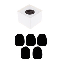 5 Pcs Microphone Foam Shield Cover +Square Cube Shaped Interview Speech Mic Microphone Logo Flag Station Logo(China)